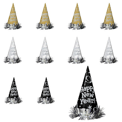 black gold silver new years cone hats 12ct