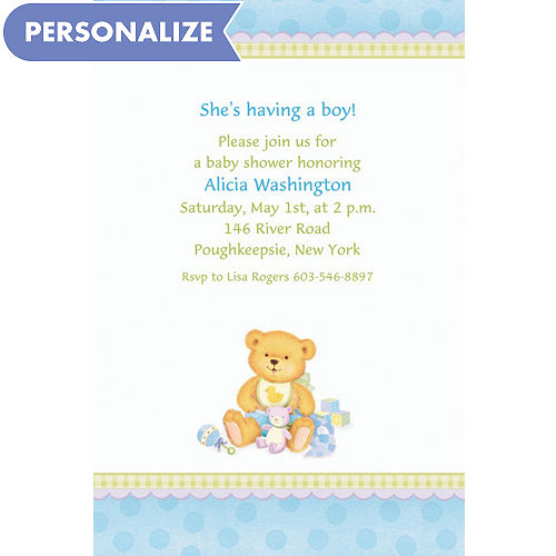 Custom Precious Bear Blue Baby Shower Invitations