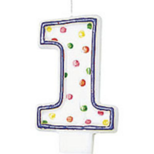 Purple Outline Number 1 Birthday Candle