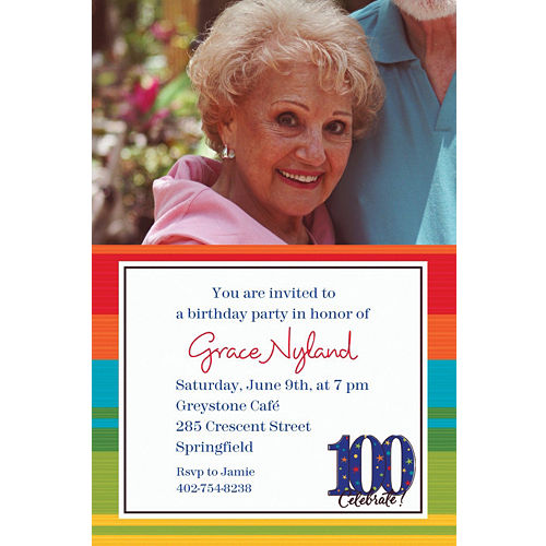 custom a year to celebrate 100 photo invitations party city