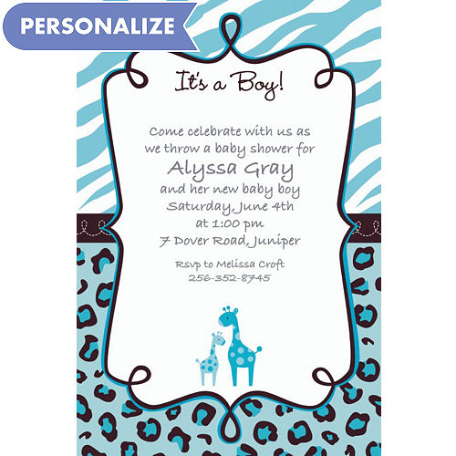 Custom baby shower invitations for boys party city custom blue safari baby shower invitations filmwisefo