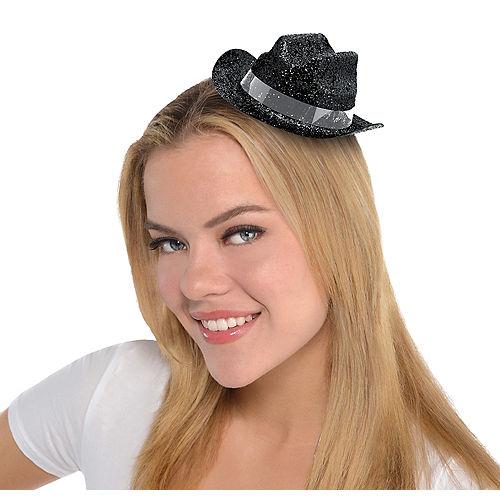 6eac6fc4383bf Black Glitter Mini Cowboy Hat