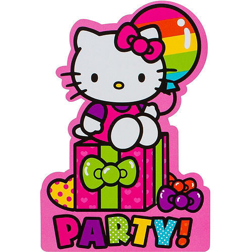 Rainbow Hello Kitty Invitations 8ct