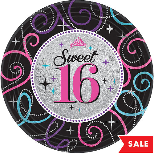Celebrate Sweet 16 Lunch Plates 8ct