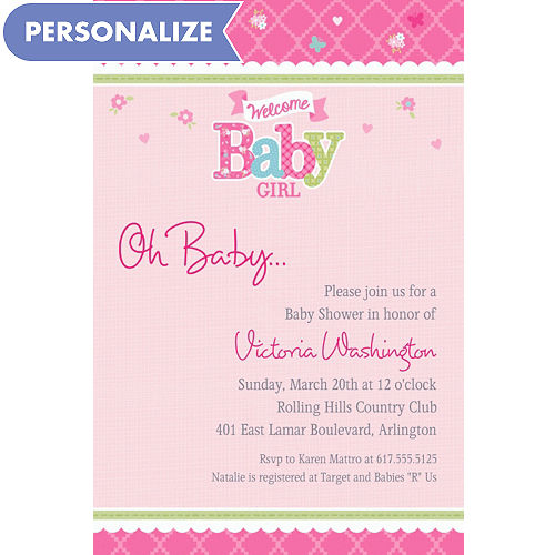 Custom baby shower invitations for girls party city custom welcome little one girl invitations filmwisefo