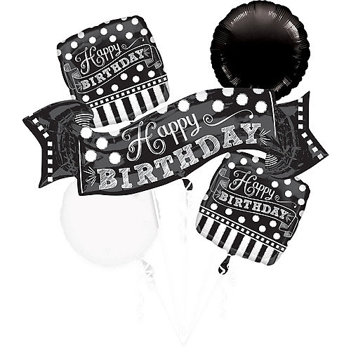 Black White Birthday Balloon Bouquet 5pc