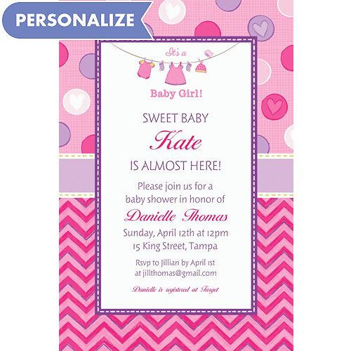 Custom baby shower invitations baby shower invites party city custom shower with love girl invitations filmwisefo