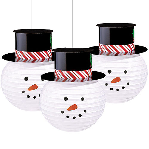 snowman paper lanterns 3ct