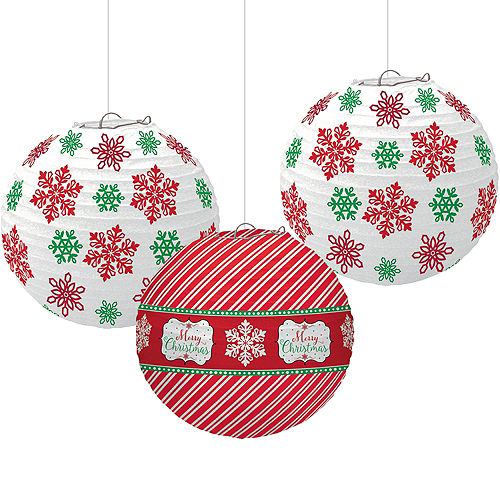 modern christmas paper lanterns 3ct - Hanging Christmas Decorations