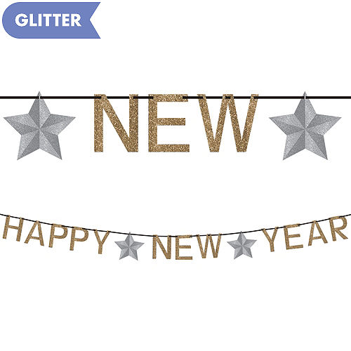 glitter gold happy new year letter banner
