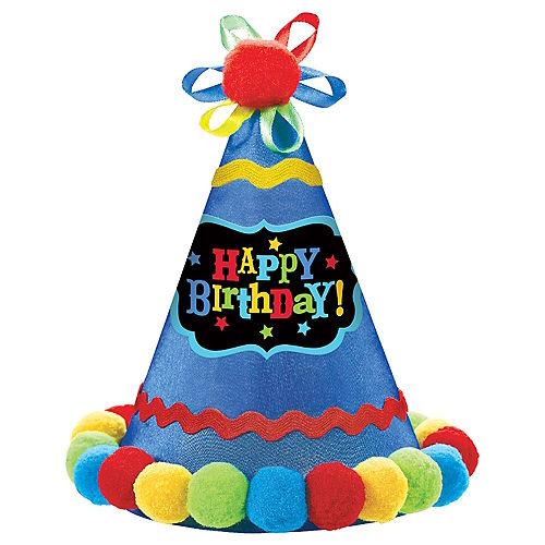 Blue Pom Happy Birthday Party Hat