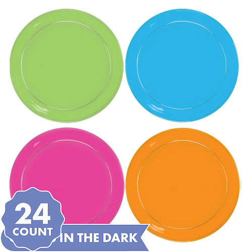 Big Party Pack Black Light Neon Plastic Lunch Plates 24ct
