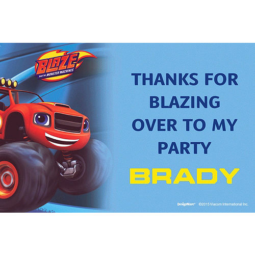 Custom Blaze And The Monster Machines Thank You Note
