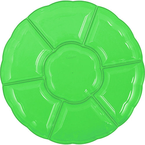Kiwi Green Plastic Scalloped Sectional Platter