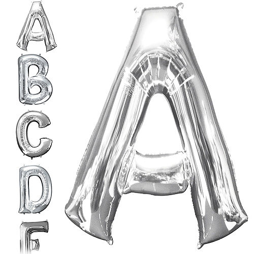 giant silver letter a balloon