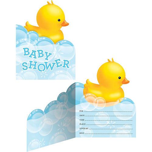 Baby shower invitations printable baby shower invitations party city rubber ducky baby shower invitations 8ct filmwisefo
