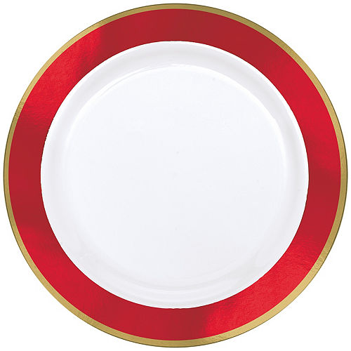 Gold & Red Border Premium Plastic Dinner Plates 10ct