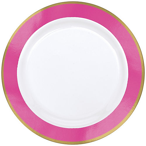 Gold & Bright Pink Border Premium Plastic Dinner Plates 10ct