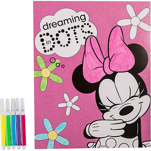 Glitter Minnie Mouse Coloring Sheet with Markers 8in x 10in | Party City