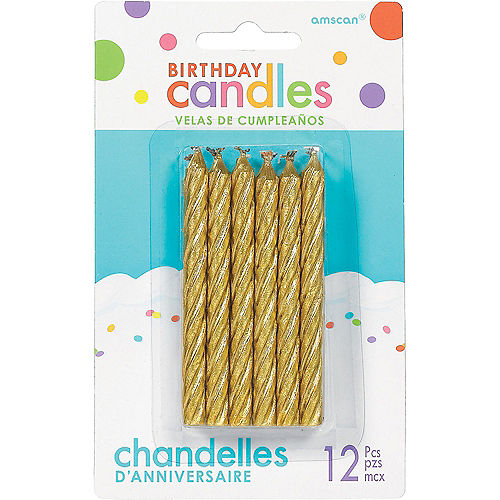 Gold Spiral Birthday Candles 12ct
