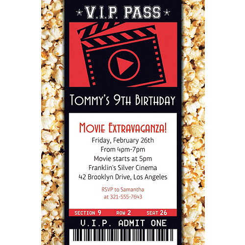 custom movie ticket invitation