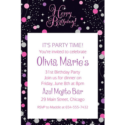 Custom Pink Sparkling Celebration Birthday Invitation