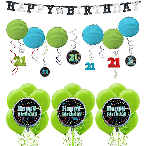 Brilliant 21st Birthday Decorating Kit With Balloons