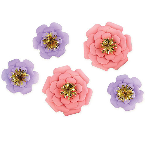 Pink purple paper flower decorations 5ct party city pink purple paper flower decorations 5ct mightylinksfo