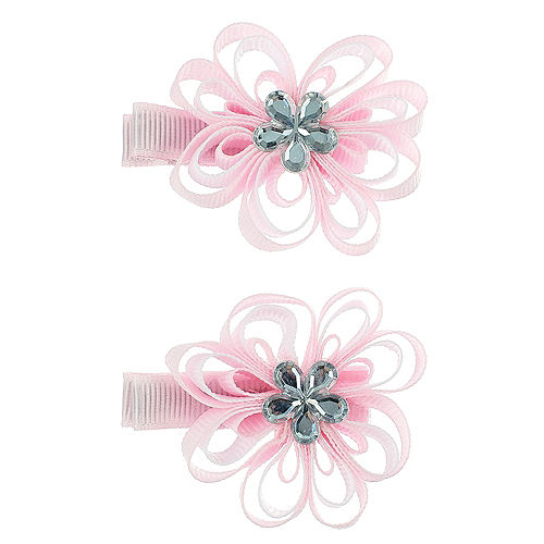 Pink flower hair clips 2ct party city pink flower hair clips 2ct mightylinksfo