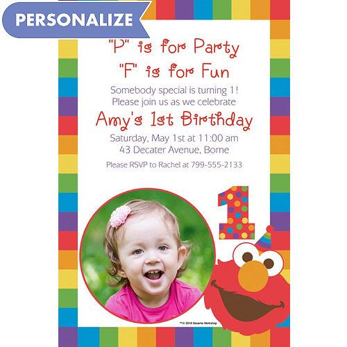 Custom Elmo 1st Birthday Photo Invitation
