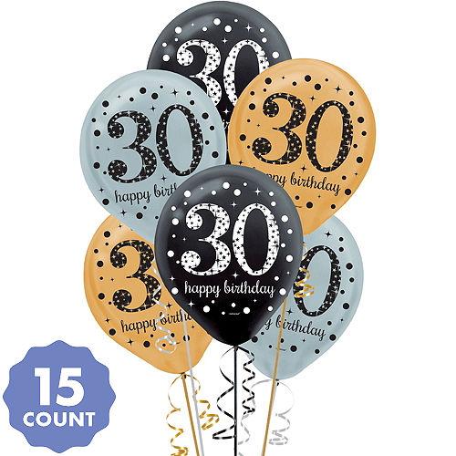30th Birthday Balloons 15ct
