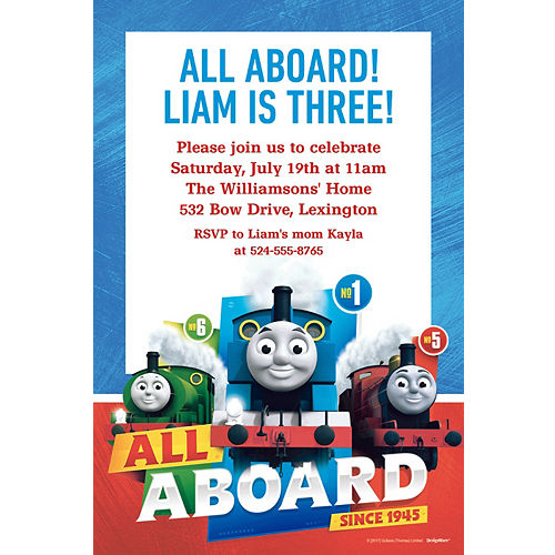Custom Thomas The Tank Engine Invitation