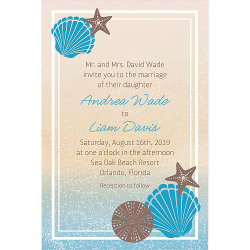 Custom seashell beach invitations party city custom seashell beach invitation m4hsunfo