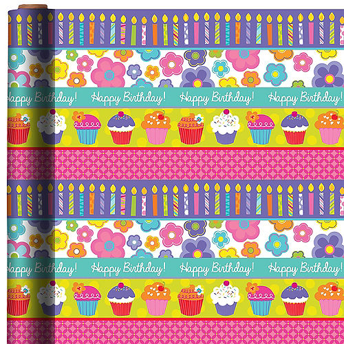 Cupcakes Flowers Birthday Gift Wrap