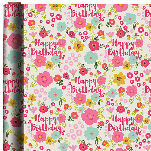 Floral Happy Birthday Gift Wrap