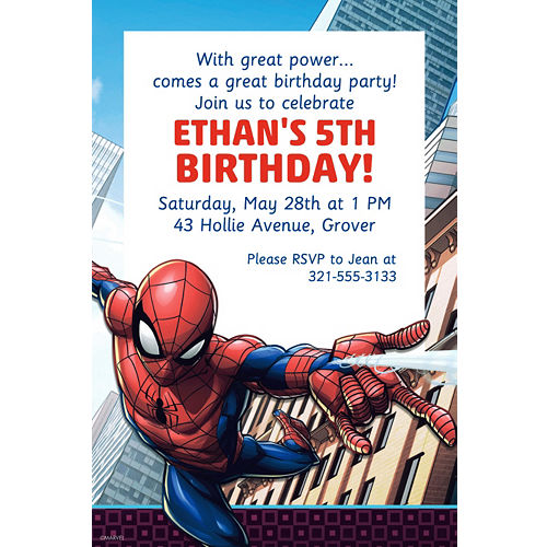 Custom Webbed Wonder Spider Man Invitation