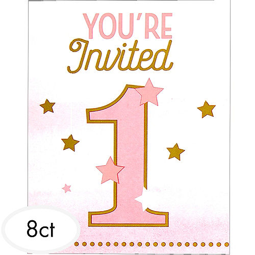 Pink twinkle twinkle little star 1st birthday invitations 8ct pink twinkle twinkle little star 1st birthday invitations 8ct party city stopboris Image collections