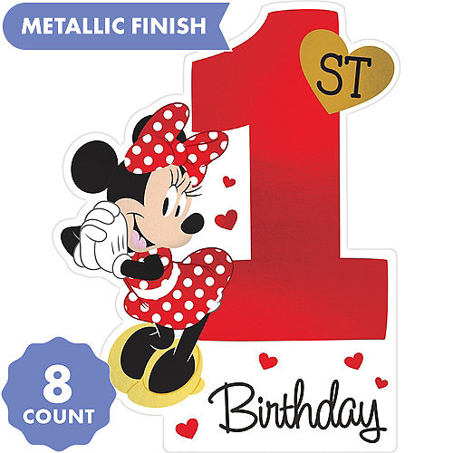 Premium 1st Birthday Minnie Mouse Invitations 8ct