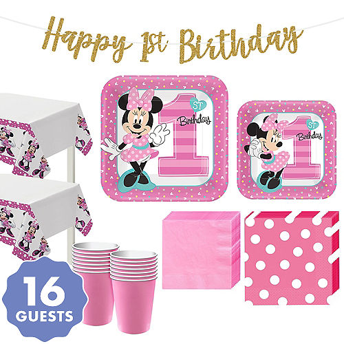 1st Birthday Minnie Mouse Party Kit For 16 Guests