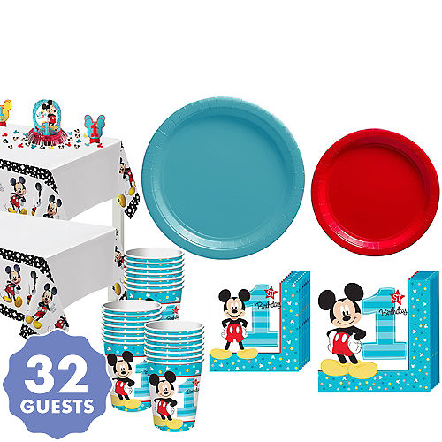 1st Birthday Mickey Mouse Party Kit For 32 Guests