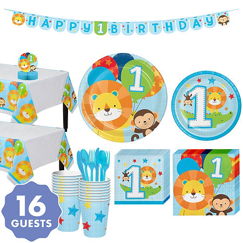 Blue One Is Fun 1st Birthday Party Kit For 16 Guests