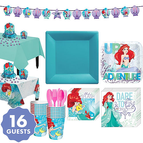 Little Mermaid Tableware Party Kit For 16 Guests