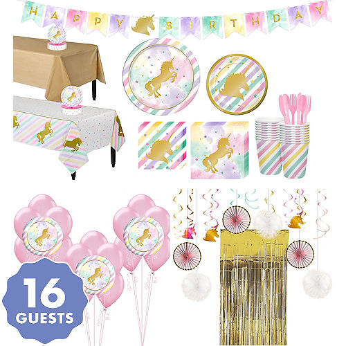 Sparkling Unicorn Tableware Ultimate Kit For 16 Guests