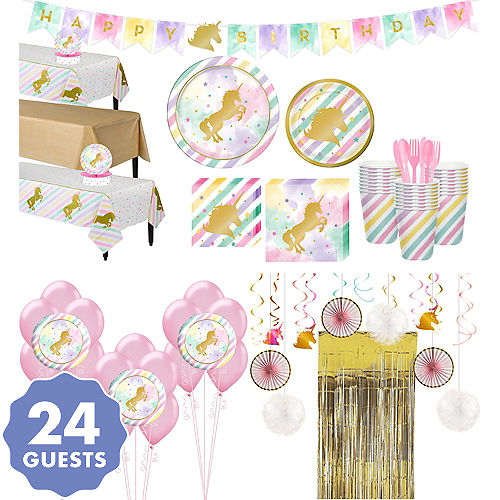 Sparkling Unicorn Tableware Ultimate Kit For 24 Guests