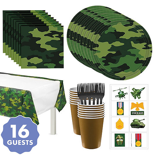 Camouflage Tableware Party Kit For 16 Guests