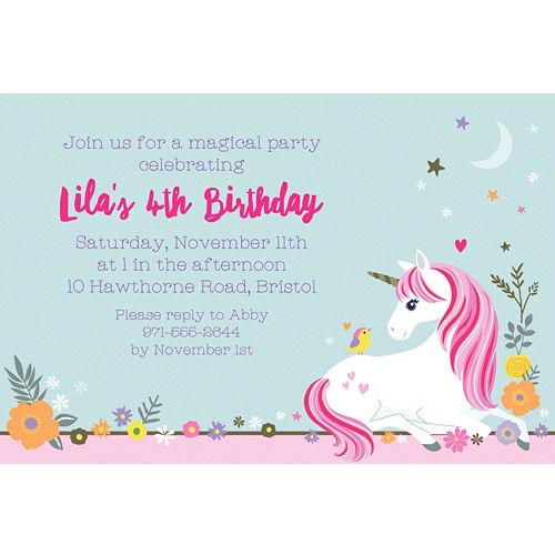Custom magical unicorn invitations party city custom magical unicorn invitation stopboris Gallery
