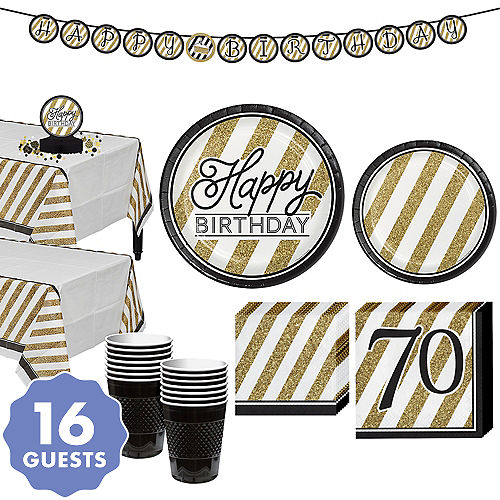 white gold striped 70th birthday party kit for 16 guests