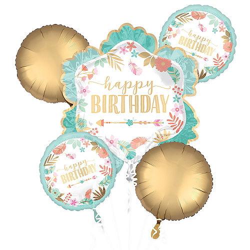 Boho Girl Birthday Balloon Bouquet 5pc