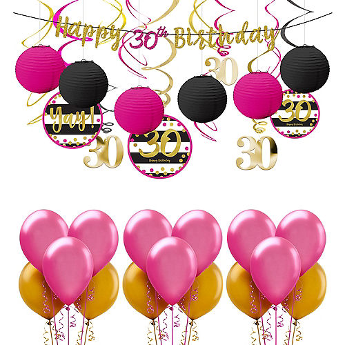 Pink Gold 30th Birthday Decorating Kit With Balloons