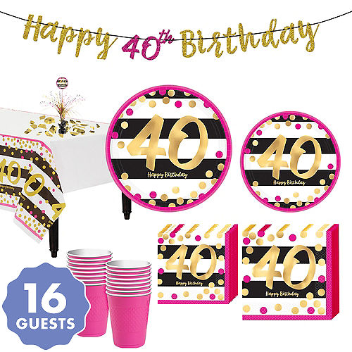 Pink Gold 40th Birthday Party Kit For 16 Guests